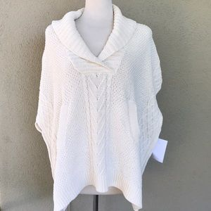 Cotton Country Cable Knit Poncho NWT